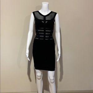 Herve Leger Black Sheer Mesh Illusion Cutout Dress